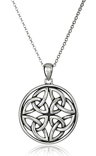 Sterling Silver Celtic Knot Necklace 18 inch Continuity of Life Necklace for Women Anniversary Birthday Mother's Gift ()
