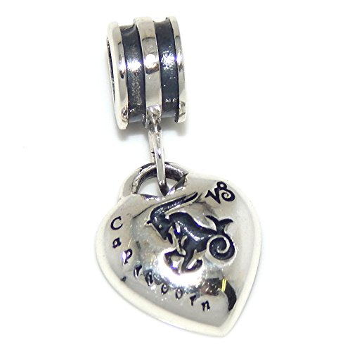 Solid 925 Sterling Silver Dangling Capricorn Zodiac Sign Heart Charm Bead 122 for European Snake Chain Bracelets
