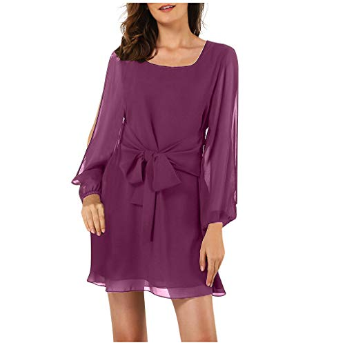 Excursion Clothing Women Loose Chiffon Dress Split Long Sleeve Boat Neck Waist Bowknot Elegant Evening Dress for Cocktail Party from Excursion Clothing