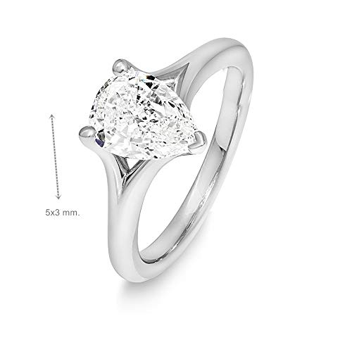 Gia Certified 0.30 Carat Pear Natural Diamond Cut 14K White Gold Wedding Ring
