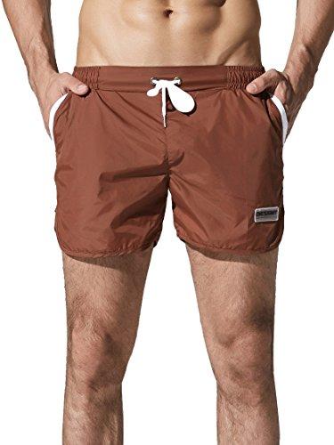 Neleus Men's Running Shorts Swim Trunks,721,Light Coffee,S,T