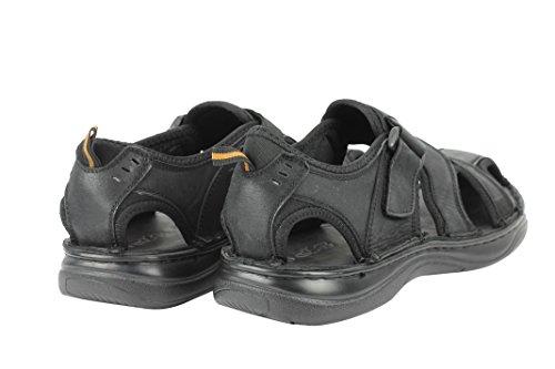 New Mens Leather Sandals Adjustable Strap Walking Gladiator Slippers Black Brown Black Pmplqbpm