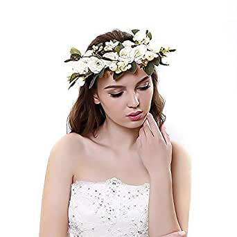 1Pcs Flower Crown Headband Hair Accessories with Adjustable Ribbon for Women Girls