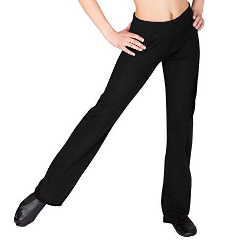 Child Roll Waist Boot Cut Pants,D1048CBLKM,Black,Medium - Child Bootcut Pant