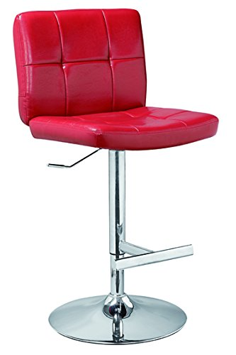 Ultimate Accent Cushion Seat and Back Adjustable Height Bar Stool, Red