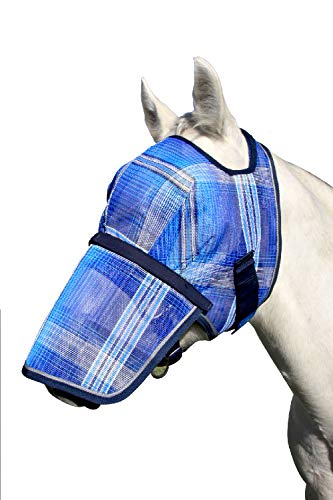 Kensington Signature Removable Nose Fly Mask - Protects Horses Face Nose from Insects, UV Rays, While Allowing Full Visibility - Ears Forelock Able to Come Through The Mask (L, Kentucky Blue)