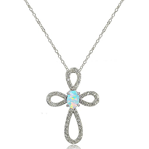 Lovve Sterling Silver Simulated White Opal & White Topaz Infinity Cross Necklace