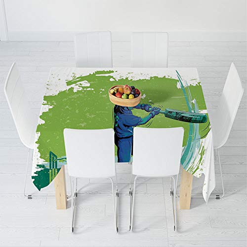 (Custom Tablecloth,Sports,for Home & Office & Restaurant Table Tea Table,39.4 X 39.4 Inch,Cricket Player Pitching Win Game Champion Team)