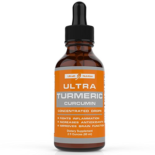 Organic Turmeric Curcumin Drops with Bioperine black pepper fruit extract via Liquid delivery for best absorption. Fights Joint Pain + Inflammation support