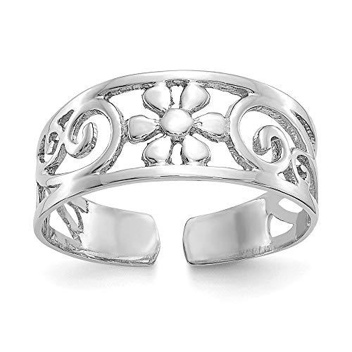 14K White Gold 6 MM Floral Toe Ring ()