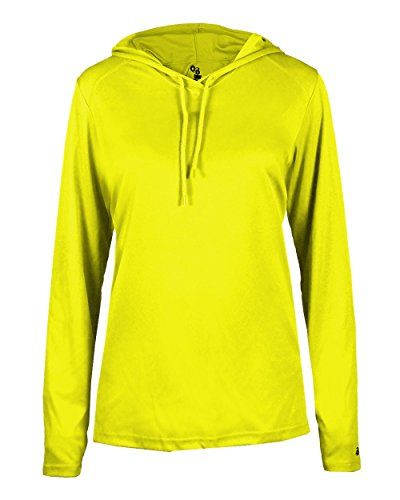 Ladies Safety Yellow Green Long Sleeve B-Core Medium Performance Sports Hoodie Wicking T-Shirt