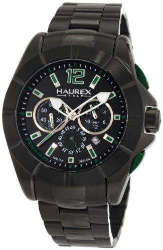 Haurex Italy Men's 0N366UNV Aston Chronograph Black PVD Bracelet Sport Watch - Aston Stainless Steel Watch