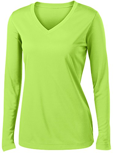 (Animal Den Ladies Long Sleeve Moisture Wicking Athletic Shirts Sizes XS-4XL Lime-S )