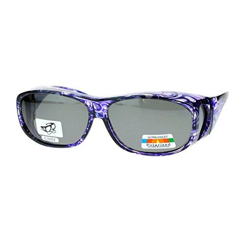 Polarized Sunglasses Fit Over Glasses Oval Rectangular OTG Anti-Glare (purple, black)