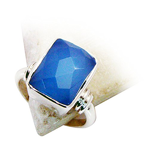 Jewelryonclick Natural Cushion Shape Blue Chalcedony 925 Sterling Silver Ring Size (Blue Chalcedony Sterling Silver Ring)