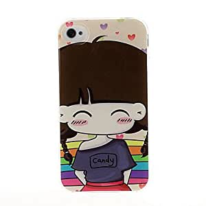 Nsaneoo - Lovely girl series TPU Soft Back Cover Case for iphone 4/4S(Pattern A)