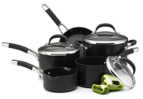 -[ Circulon Premier Professional Hard Anodised Cookware Set , Black - 5 Piece  ]-
