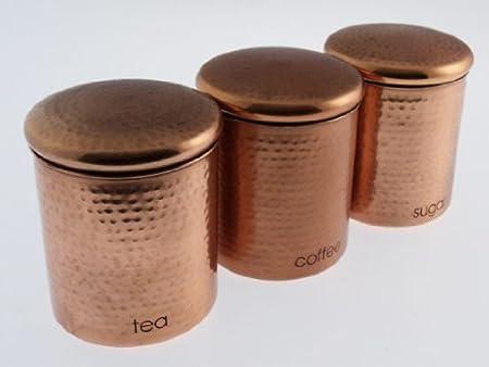 Copper Effect Tea Coffee Sugar Storage Canisters Set Amazon