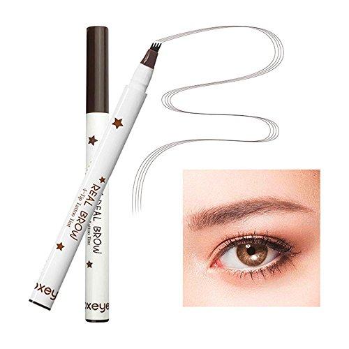 KOBWA Fine Sketch - Bolígrafo para cejas, lápiz de tinta de cejas con cuatro puntas, lápiz de cejas líquido, gel de ceja impermeable para maquillaje de ojos ...