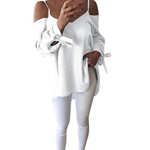 Chemisier Top Fluide en Bringbring Off Manches Femme Shirt paule T Blouse Longues Blanc wRZn4xqAF