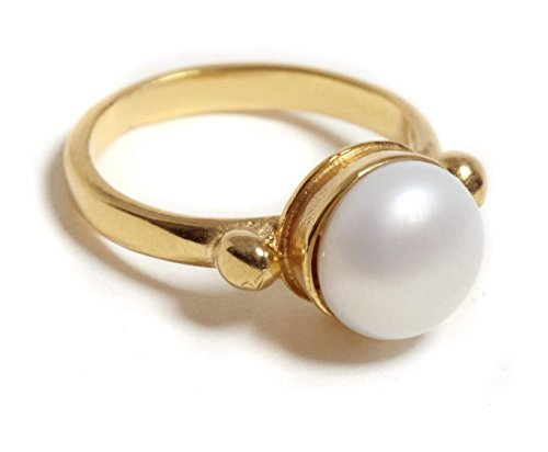 Handmade 9K Gold Romantic Pearl Bridal Ring, Solid Gold Alternative Engagement Ring, Sizes US 3-11.