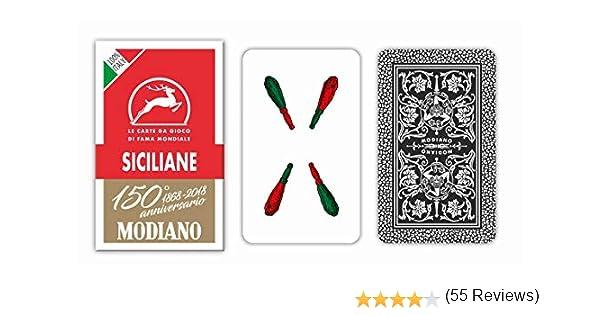Modiano - Cartas de Juego regionales sicilianas, Color Estuche Rojo, 300083: Amazon.es: Juguetes y juegos