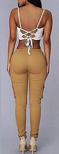 Fashion Eleganti Cargo Con Monocromo HaiDean Matita Pantaloni Skinny Glamorous Libero Donna A Pantaloni Pantaloni Tasche Trousers Coulisse Elastico Khaki Con Tempo Semplice pggH7qfPW