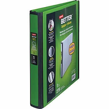 """1"""" Staples Better View Binder with D-Rings, Green"""