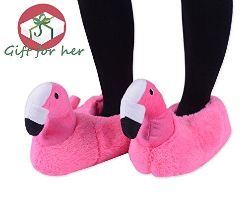 Kushyshoo Flamingo Slippers Pluche Pantoffels Memory Foam Bont Slippers Rose Rood