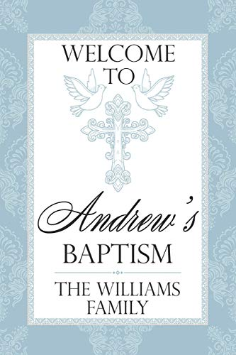 Baptism Welcome Sign, Christening, Communion party decorations, Personalized Baptism, Communion banner, Communion sign, First communion Boy Baptism sign, Handmade Party Size 36x24, ()