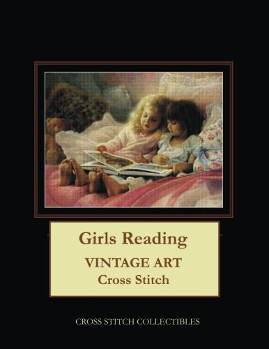 Girls Reading: Vintage Art Cross Stitch Pattern