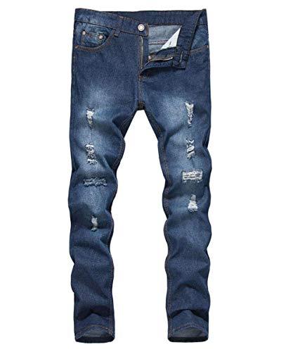 Lannister Fashion Pantalones Vaqueros Destruidos Ajustados Regulares De Hombres Los Skinny Pantalones Vaqueros Rasgados Ajustados De Los Pantalones Vaqueros del Dril De Algodón Blau