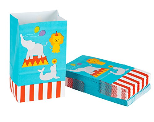 Party Treat Bags - 36-Pack Gift Bags, Circus Party Supplies, Paper Favor Bags, Recyclable Goodie Bags for Kids, Circus Animals Design, 5.2 x 8.7 x 3.3 Inches -