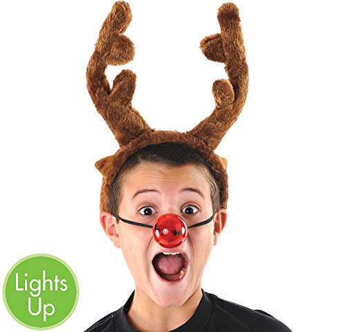 Light-Up Red Plastic Reindeer Nose | Christmas Accessory