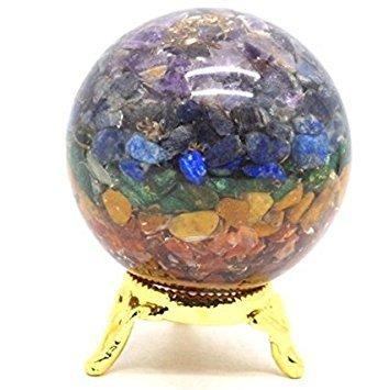 Healing Crystals India®: Natural Gemstone Ball Semi Precious Stone Chakra Orgonite Reiki Pyramid Feng Shui Reiki Healing Energy Charged Stone Chips 50-60mm Free Shipping
