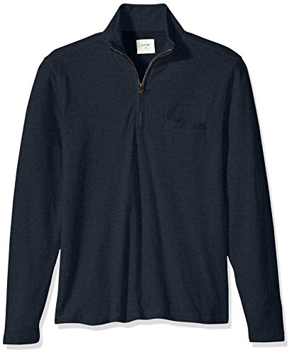 Billy Reid Men's Double Faced Long Sleeve Jordan Half Zip, Carbon Blue, X-Large by Billy Reid