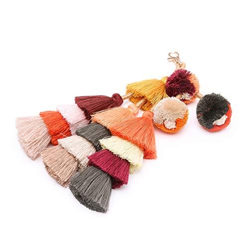 (Fashion Women Layered Colorful Boho Pom Pom Tassel Bag Charm Key ChainStrong Carabiner Shape Keychain Key Chain Ring Keyring Keyfob Key Holder)