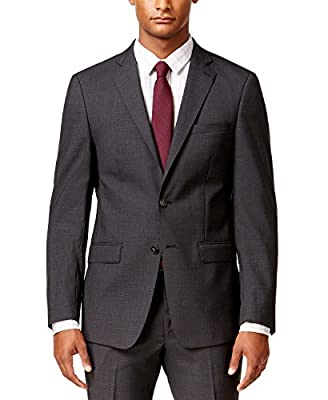Calvin Klein Men's Suit X EXtreme Slim Fit 2 Piece 100% Wool 2 Button Side Vents Jacket Flat Front Pants Charcoal Grid