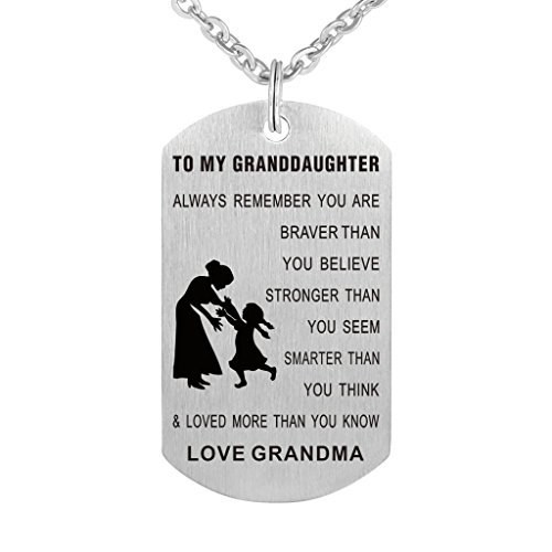 Grandpa Grandma To Granddaughter Dog Tag Necklace Military Mens Jewelry Personalized Custom Dogtags Pendant Love Gift (Grandma to Granddaughter Always)