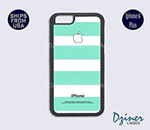 iPhone 6 Plus Case - White Mint Green Stripes iPhone Cover