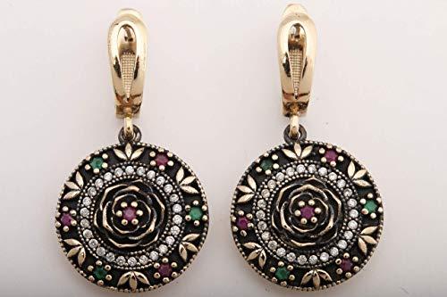 Turkish Motif Handmade Jewelry Round Shape Round Cut Ruby Topaz 925 Sterling Silver Drop/Dangle Earrings