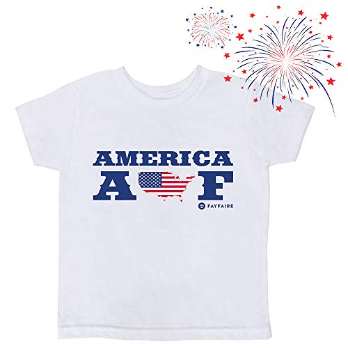 4th of July Shirt for Kids | Patriotic Outfit for Girls and Boys | Independence Day Flag T-Shirts | America AF 2T White]()