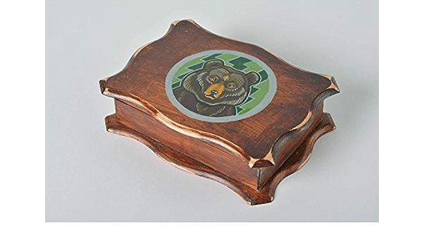 Joyero artesanal de chapa de madera rectangular pintado a ...