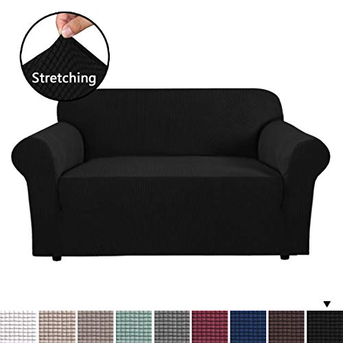 H.VERSAILTEX 1 Piece Sofa Slipcovers Stretch Furniture Cover Lycra Spandex Jacquard Fabric Super Soft, Stretching Skid Resistant Sofa Protector - Loveseat (2 Seater) - Black (Cheap Super Couches)