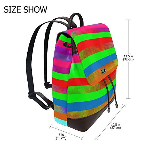 Regnbåge spektrum abstrakt kreativ ryggsäck handväska mode PU-läder ryggsäck ledig ryggsäck för kvinnor