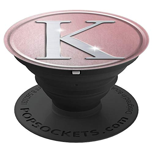 Rose Gold Monogram Letter K Silver Sparkle Popsocket - PopSockets Grip and Stand for Phones and Tablets ()