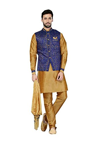 Da Facioun IT Mens Kurta Pajama Wedding Art Dupion Brown India Party Wear Set Of 3 by Da Facioun