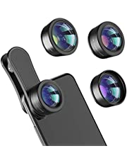 Phone Camera Lens,3 in 1 kits-198°Fisheye Lens + 20X Macro Lens + 120°Wide Angle Lens,Clip on Cell Phone Lens Kits Compatible with iPhone,iPad,Most Android Phones and Smartphone