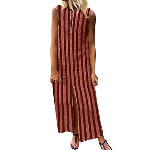 Tantisy ♣↭♣ Women's Plus Size Sleeveless Striped Length Dress Fashion V-Neck Slit Beach Ankle-Length Dress Orange ()