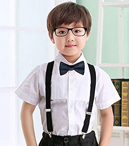 25mm Wide Solid Color Kids Braces with Strong Clip WedDecor Children Braces Bow tie sets Fully Elastic Woven Bowtie Set for Wedding Unisex Adjustable Suspenders and Bow Tie Set